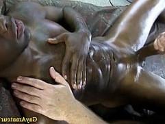 Muscled black amateur jock gay tugged