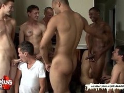 Twinks bukkake turns into an orgy