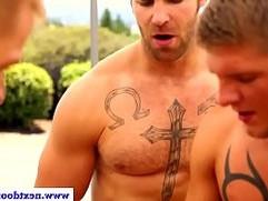 Group of muscular jocks enjoy outdoor anal sex