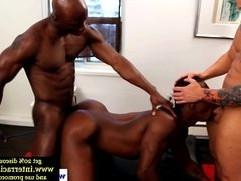 Ebony jocks in interracial threeway pounded